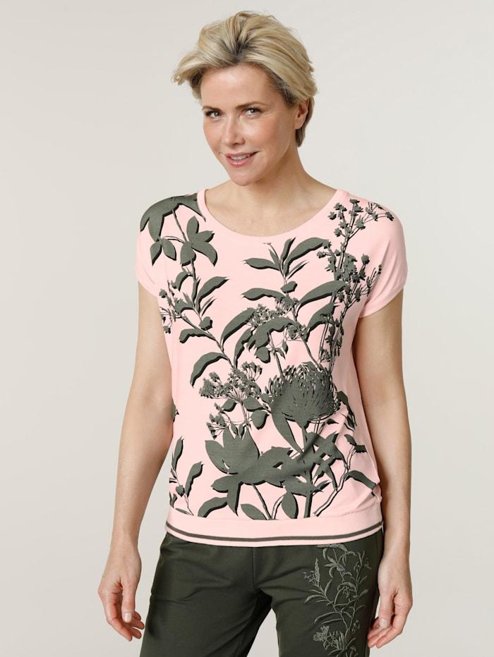 MONA Shirt mit effektvollem Druck, Hellrosa/Oliv