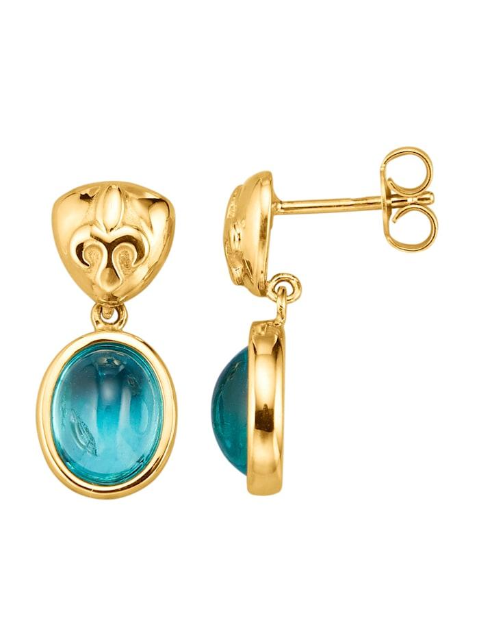 Diemer Farbstein Ohrringe mit paraibafarbenen Apatiten, Blau