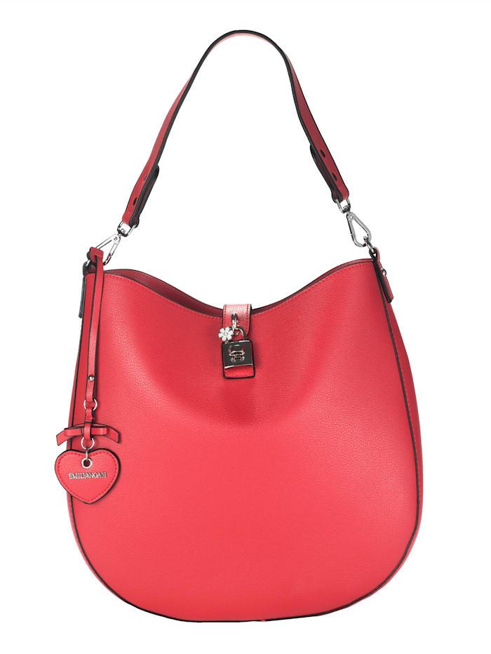 EMILY & NOAH Mechová kabelka s malou taštičkou cez plece 2-dielna, Červená
