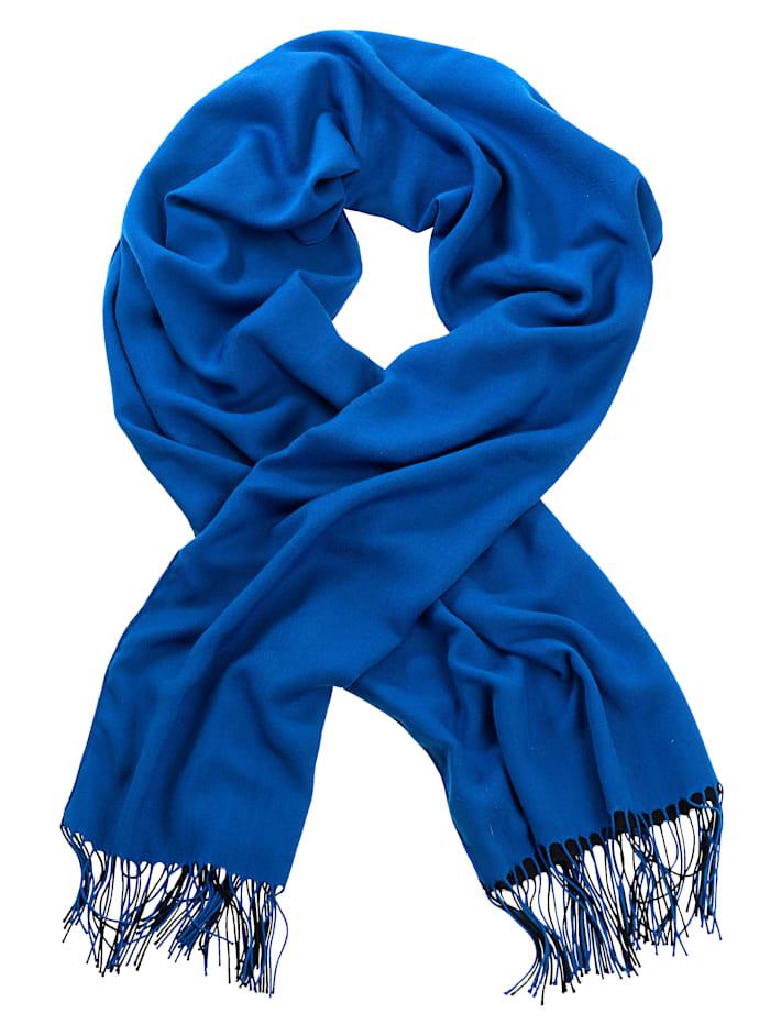 Alba Moda Sjaal in dubbellaagse uitvoering, Royal blue/Zwart