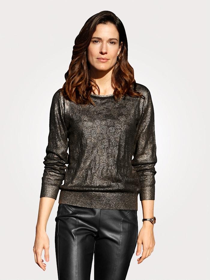 MONA Pullover mit effektvollem Druck, Schwarz/Bronzefarben