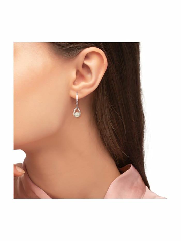 Ohrring für Damen, Sterling Silber 925, Zirkonia Süßwasserzuchtperle