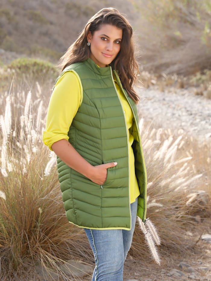 MIAMODA Veste sans manches avec col montant, Vert/Citron vert