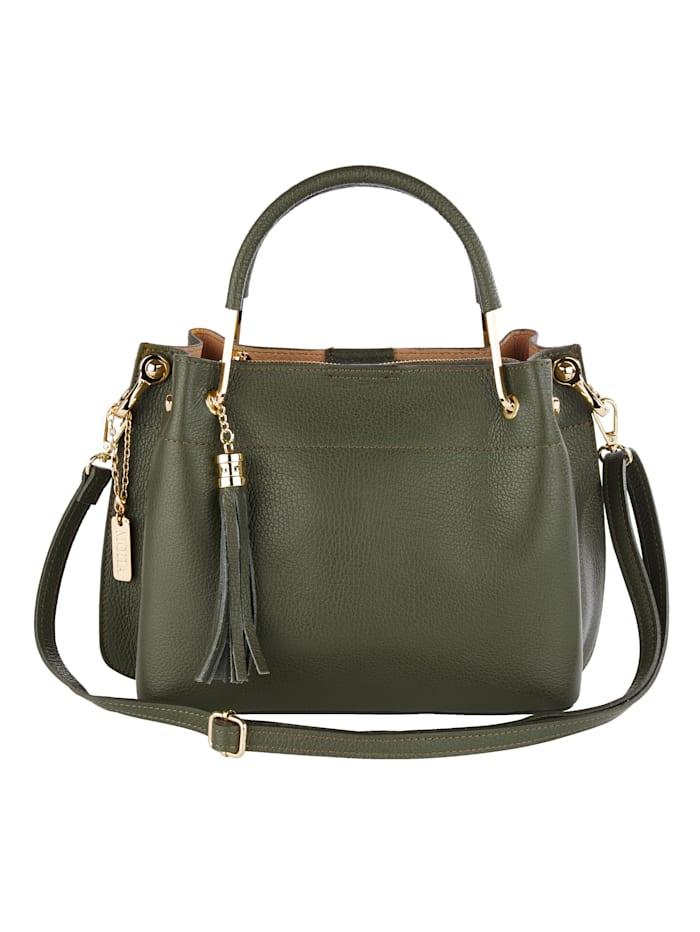 Handtasche mit abnehmbarem Schmuckanhänger und Quaste, oliv