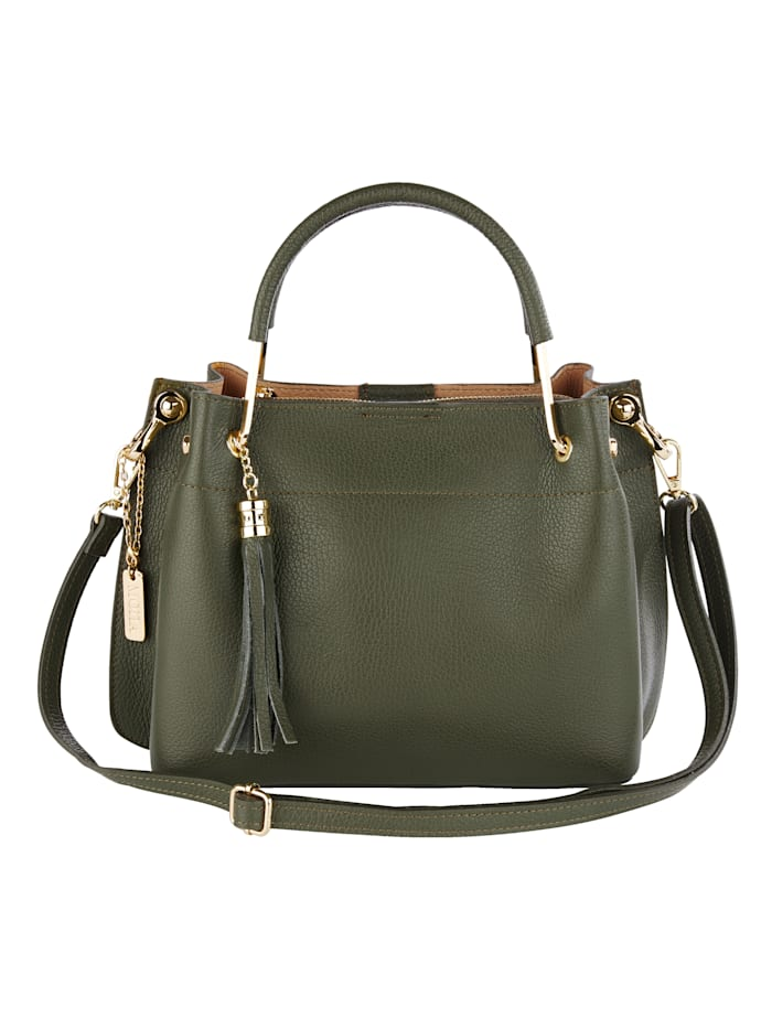 MONA Handbag with a removable pendant and fringe detail, Olive