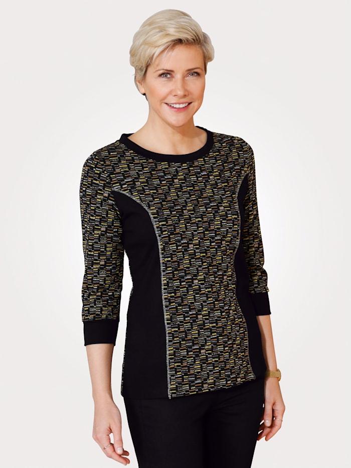 MONA Sweatshirt mit grafischem Jaquard, Schwarz/Ockergelb/Taupe