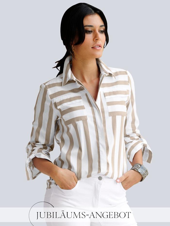 Alba Moda Bluse in schönem Streifendessin, Weiß/Taupe