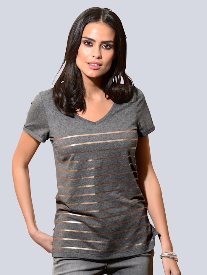 Alba Moda Shirt mit kupferfarbenen Ringeln, Grau