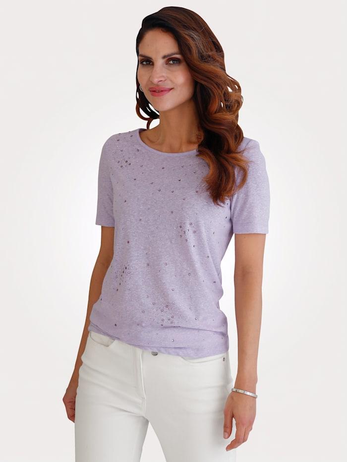 MONA Shirt mit dekorativen Strasssteinen, Lavendel