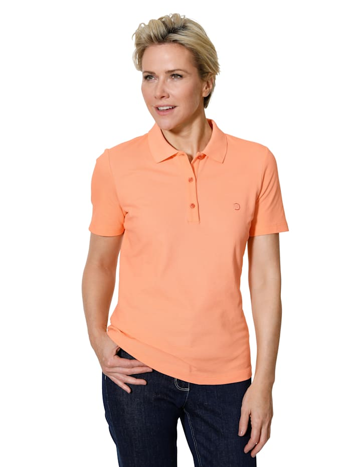 MONA Polo shirt made from a stretch Pima cotton blend, Apricot