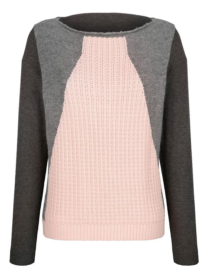 AMY VERMONT Pullover mit grafischem Muster, Grau/Rosé