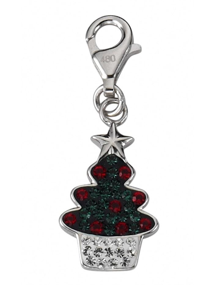 1001 Diamonds Damen Silberschmuck 925 Silber Charms Anhänger Baum mit Glasstein, bunt/multi