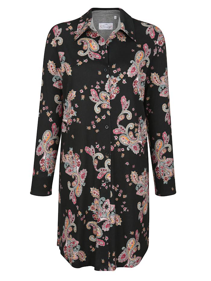 Ringella Bloomy Nachthemd met doorknoopsluiting, Zwart/Steenrood