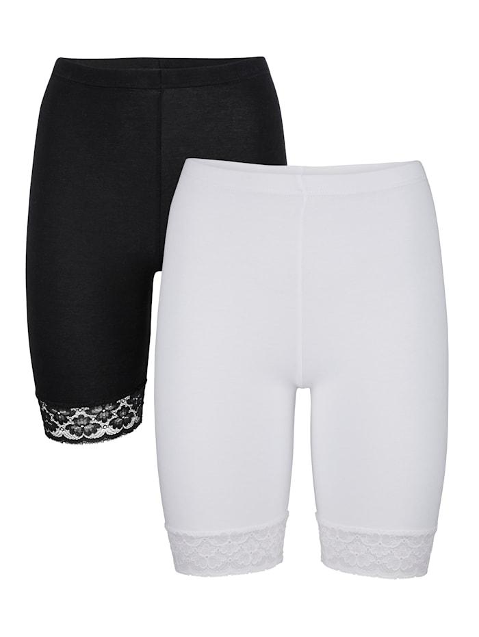 HERMKO Panties longs avec dentelle au bas de jambes, Blanc/Noir