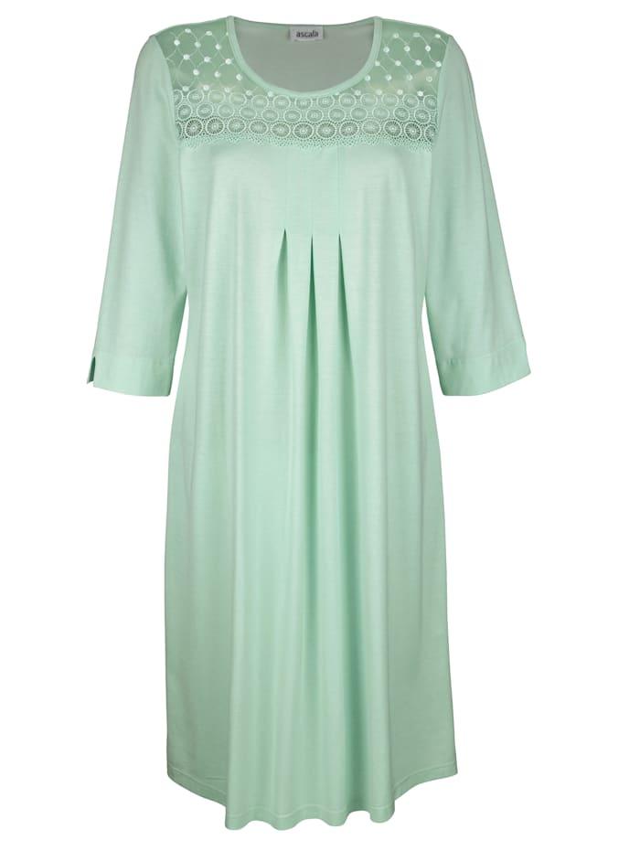 MONA Nachthemd mit schönen Raffungen im Vorderteil, Lindgrün