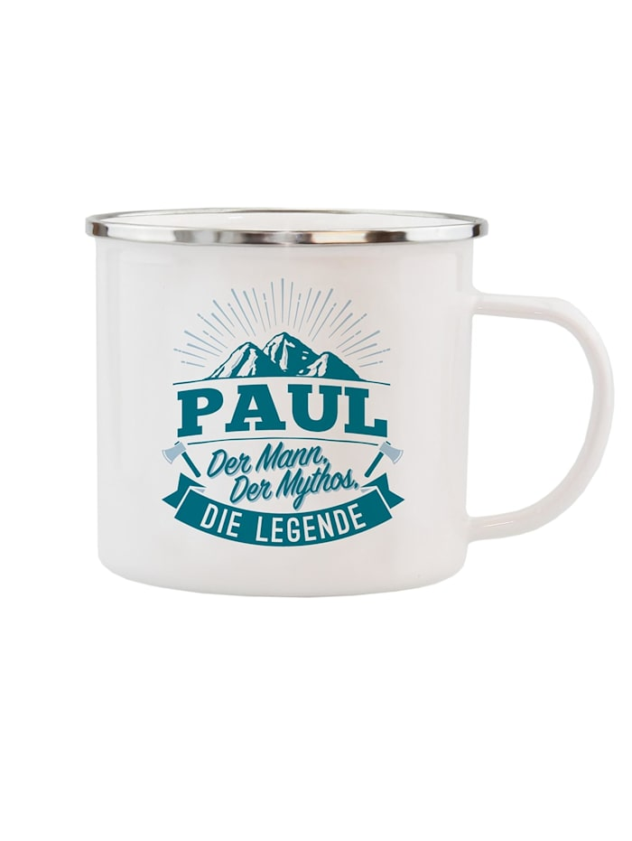 HTI-Living Echter Kerl Emaille Becher Paul, Weiß