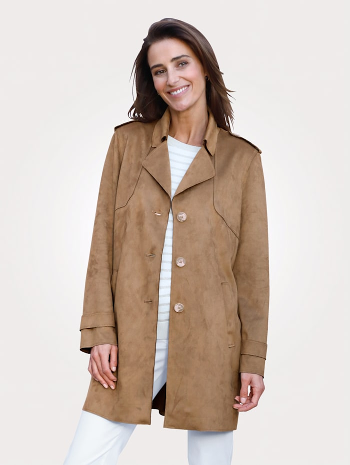 MONA Faux suede jacket made from a premium fabric, Cognac