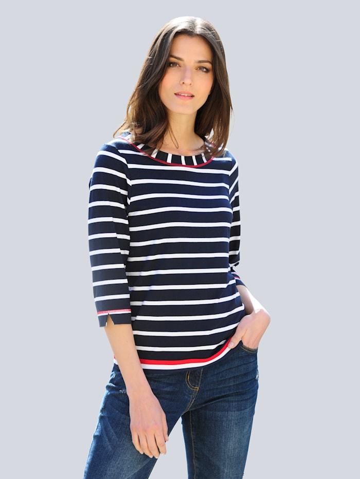 Alba Moda Shirt in een klassieke kleurencombinatie, Marine/Wit/Rood