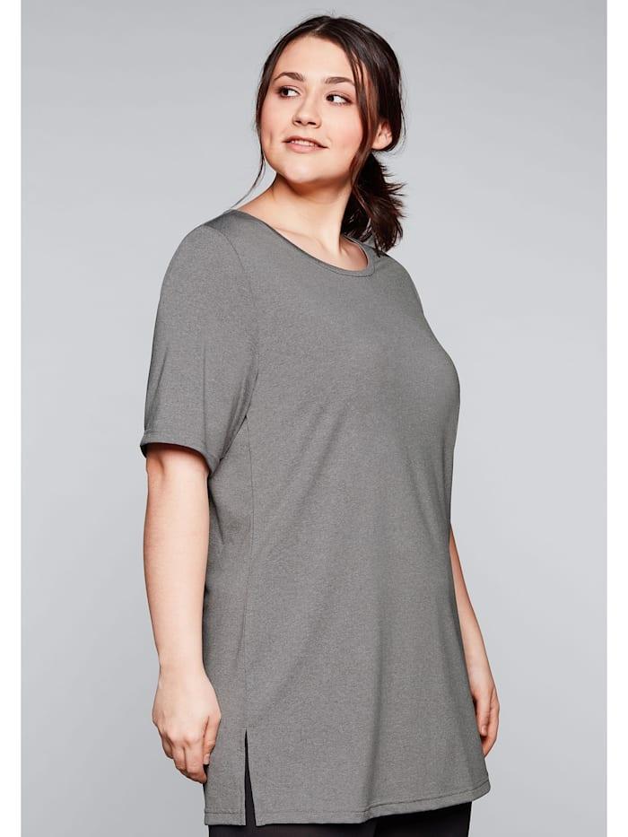Sheego Funktionslongshirt mit atmungsaktiver, schnelltrocknender Funktion, grau meliert