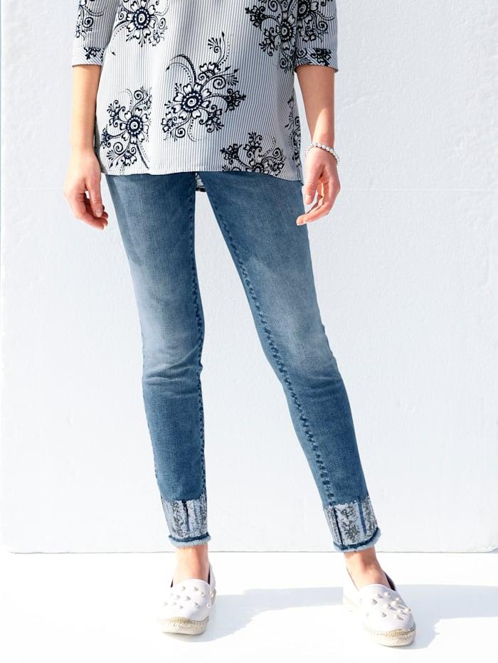 AMY VERMONT Jeans mit Pailletten am Saum und Fransenabschluss, Blue bleached