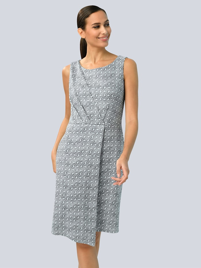 Alba Moda Kleid im Alba Moda exklusiven Dessin, Grau/Weiß