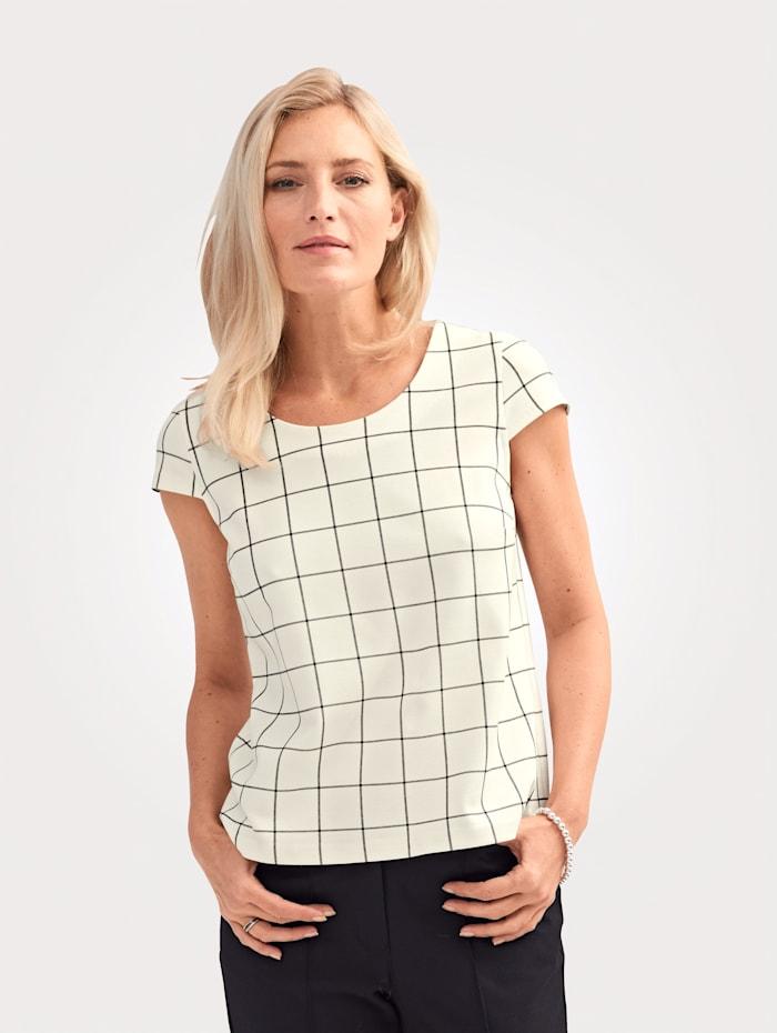 MONA Shirt mit Karomuster, Ecru/Schwarz