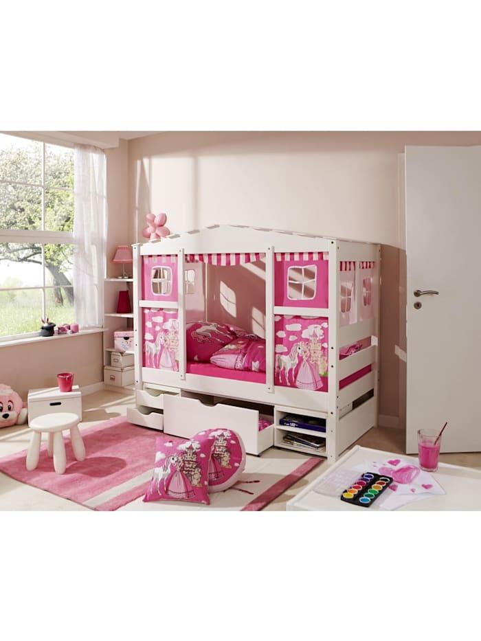 """Hausbett Mini mit Bettkasten """"Horse Pink"""" Kiefer Weiß"""