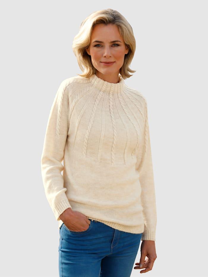 Dress In Pullover mit Zopfmusterdetails, Wollweiß