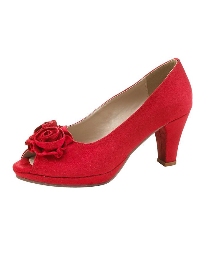 Platform peep toe shoes with a joyful floral embellishment, Red