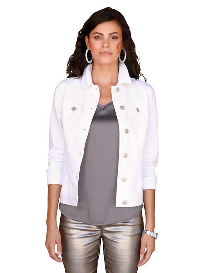 AMY VERMONT Spijkerjasje met print achter, Wit/Multicolor