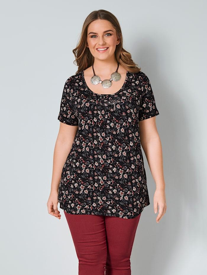 Janet & Joyce Shirt met bloemenprint, Zwart/Steenrood