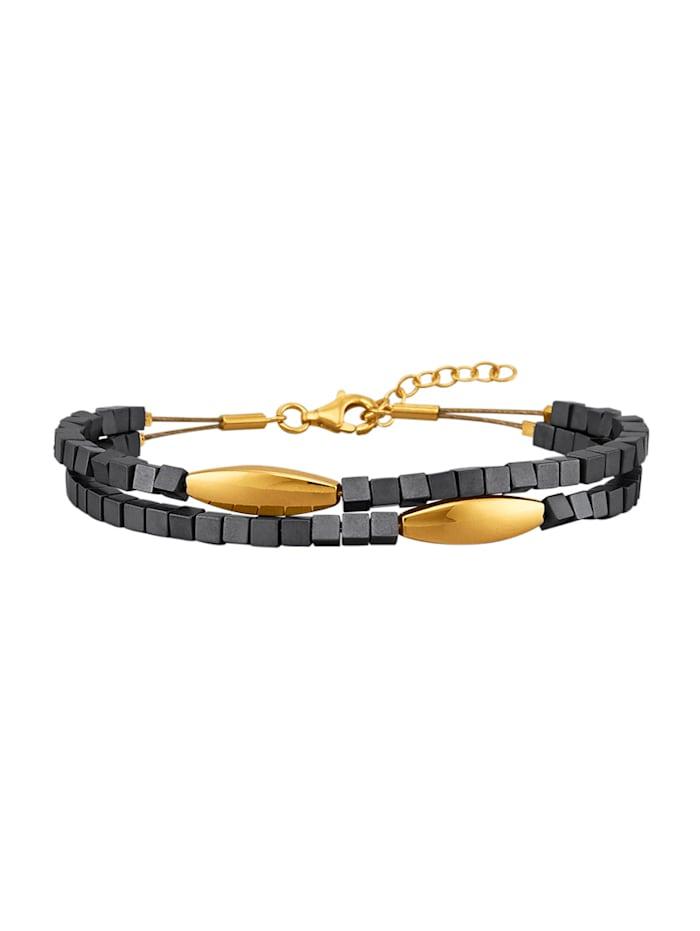 Diemer Trend 2-rijige armband met hematiet, Grijs
