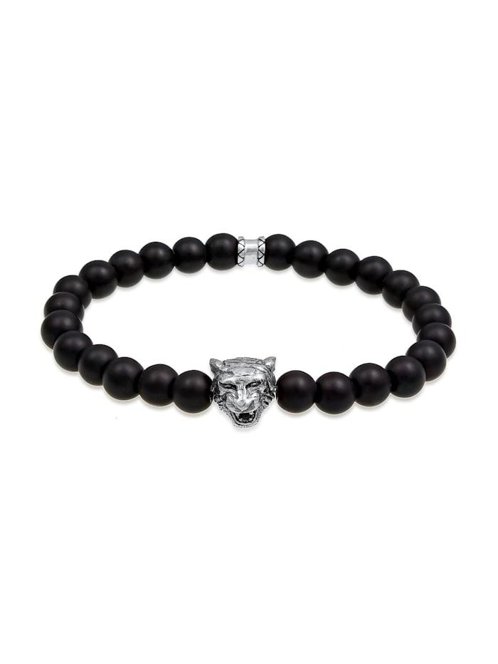 Kuzzoi Armband Herren Tiger Kopf Onyx Edelsteine Black 925 Silber, Schwarz