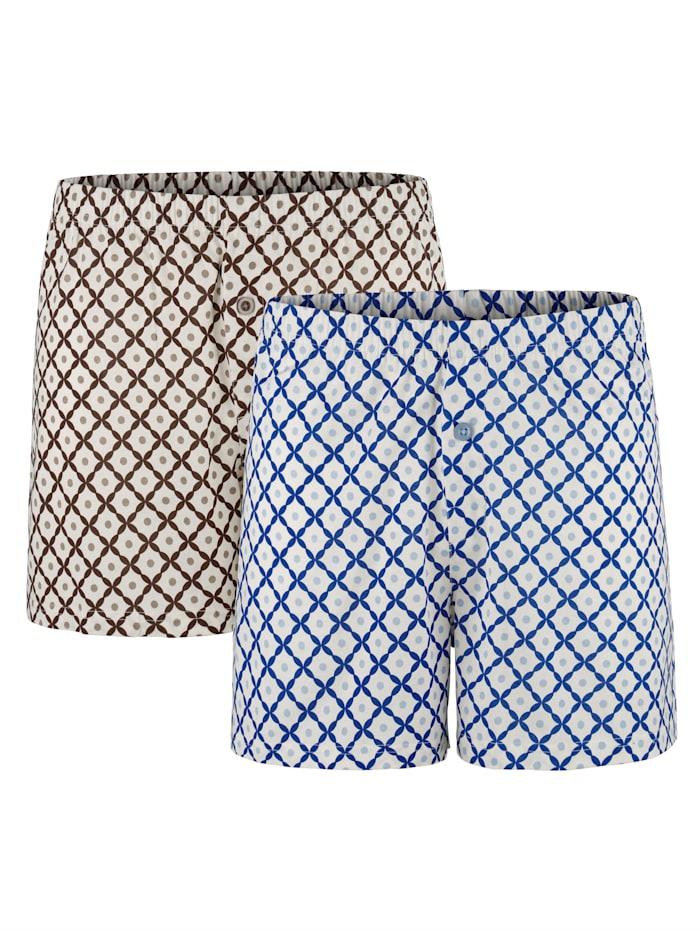 BABISTA Boxers en coton mercerisé, Bleu/Marron