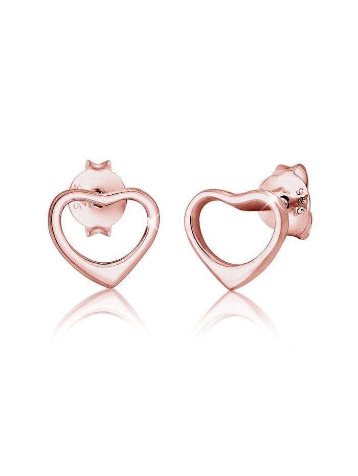 Elli Ohrringe Herz Liebe Verbundenheit Basic 925 Silber, Rosegold