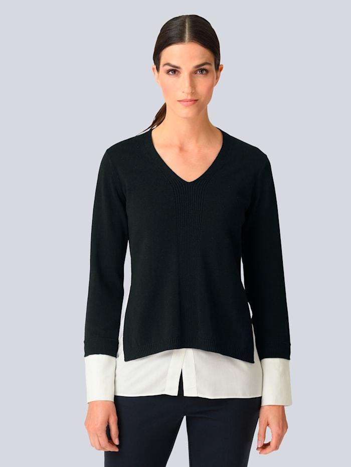 Alba Moda Pullover mit Webeinsatz, Marineblau/Off-white