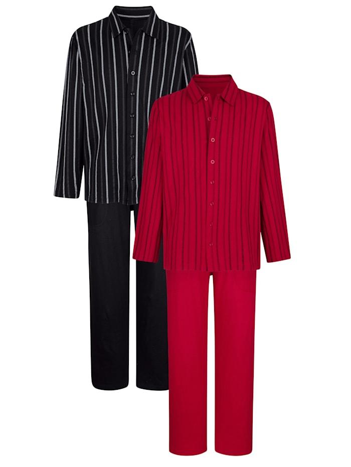 BABISTA Pyjama's per 2 stuks, Robijnrood/Zwart