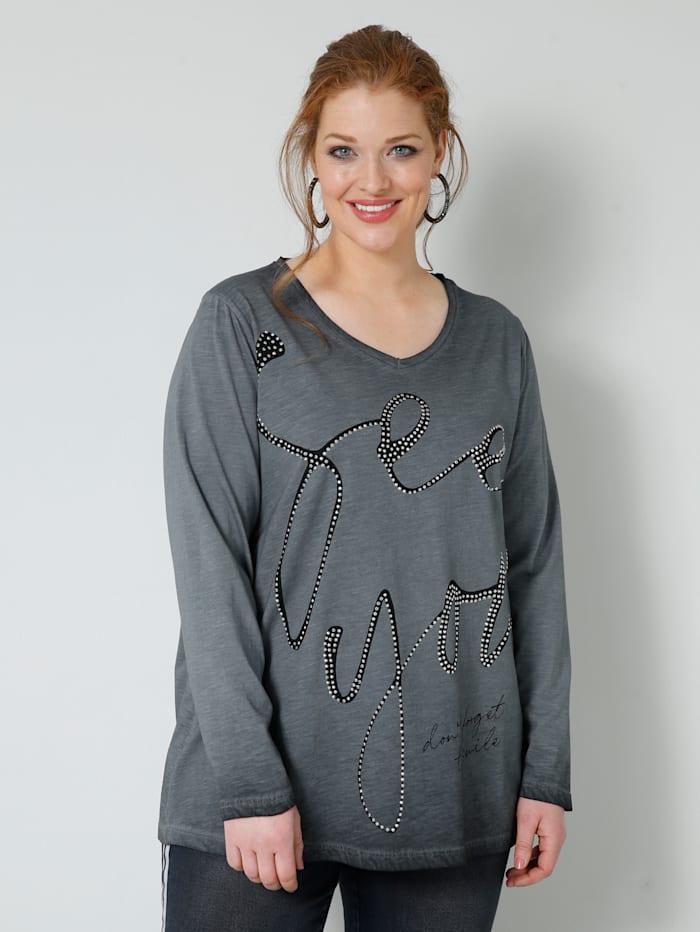 Sara Lindholm Shirt mit Dekosteinchen im Schriftzug, Anthrazit