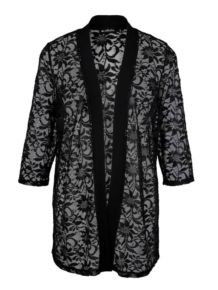 m. collection Tričkový kabátik v transparentnej čipkovej kvalite, Čierna
