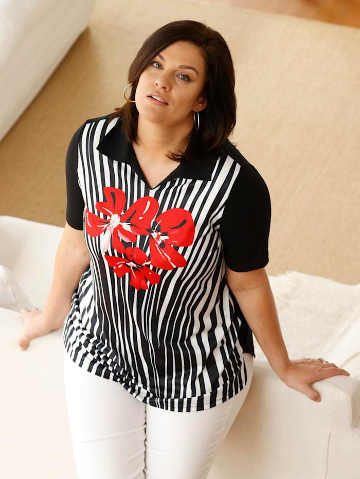 m. collection Poloshirt mit platziertem, floralem Druckdesign vorne, Schwarz/Rot