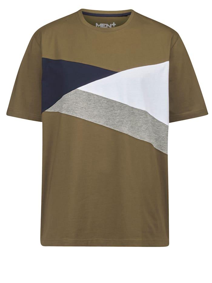 Men Plus T-shirt met colour blocking dessin, Olijf/Marine/Wit