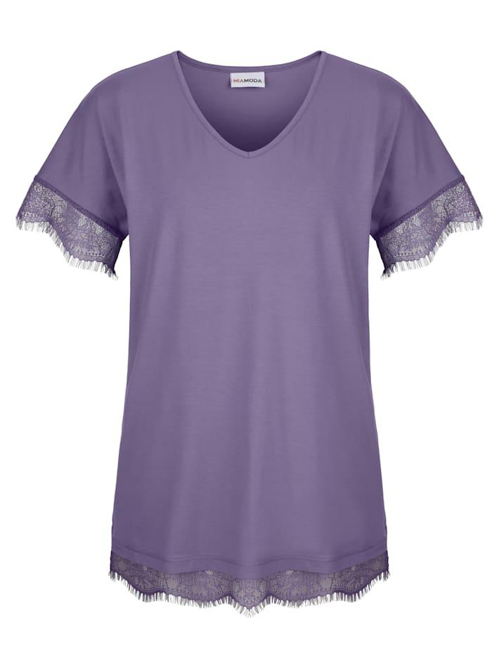 MIAMODA Shirt mit Spitzenbogenkante an Ärmeln und Saum, Lila