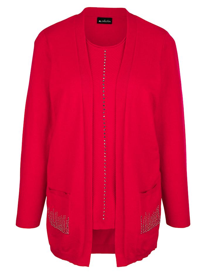 m. collection 2-in-1-trui met siersteentjes, Berry
