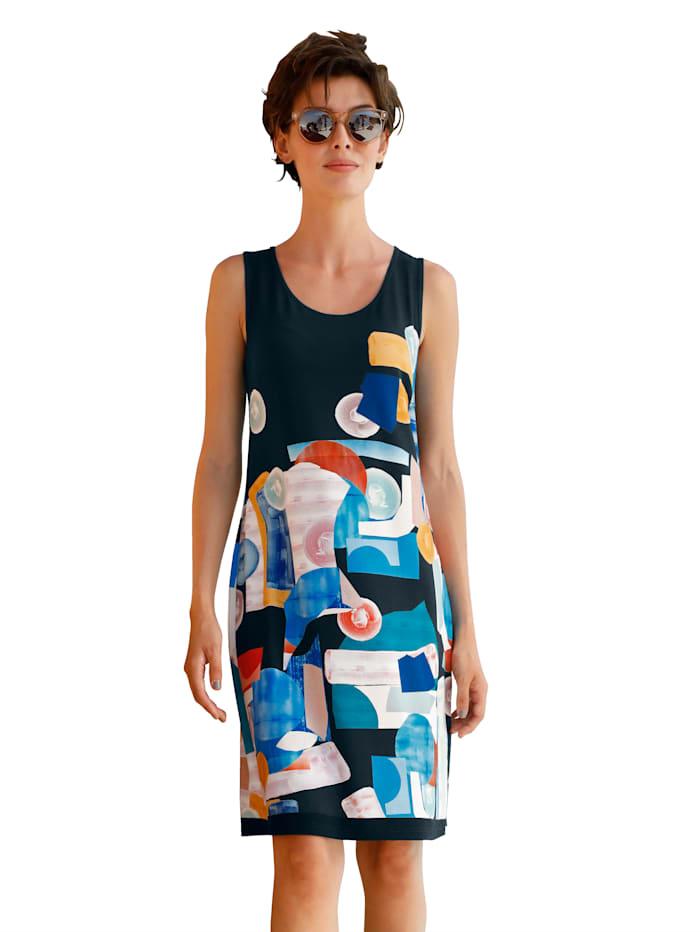 Maritim Strandkleid mit buntem Druck rundum, Marineblau
