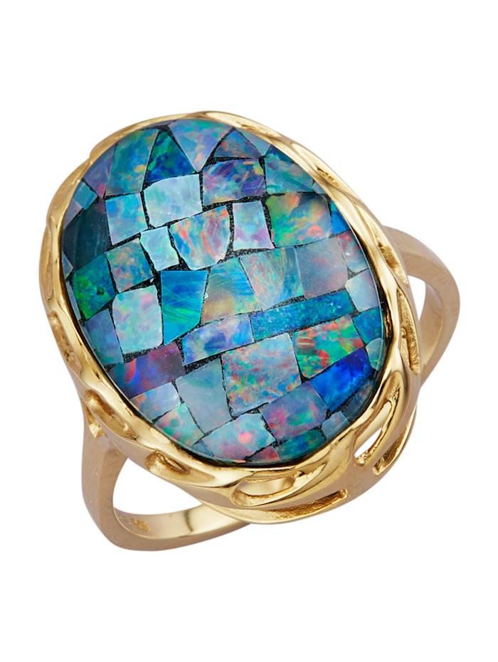 Bague avec opale mosaïque, Multicolore
