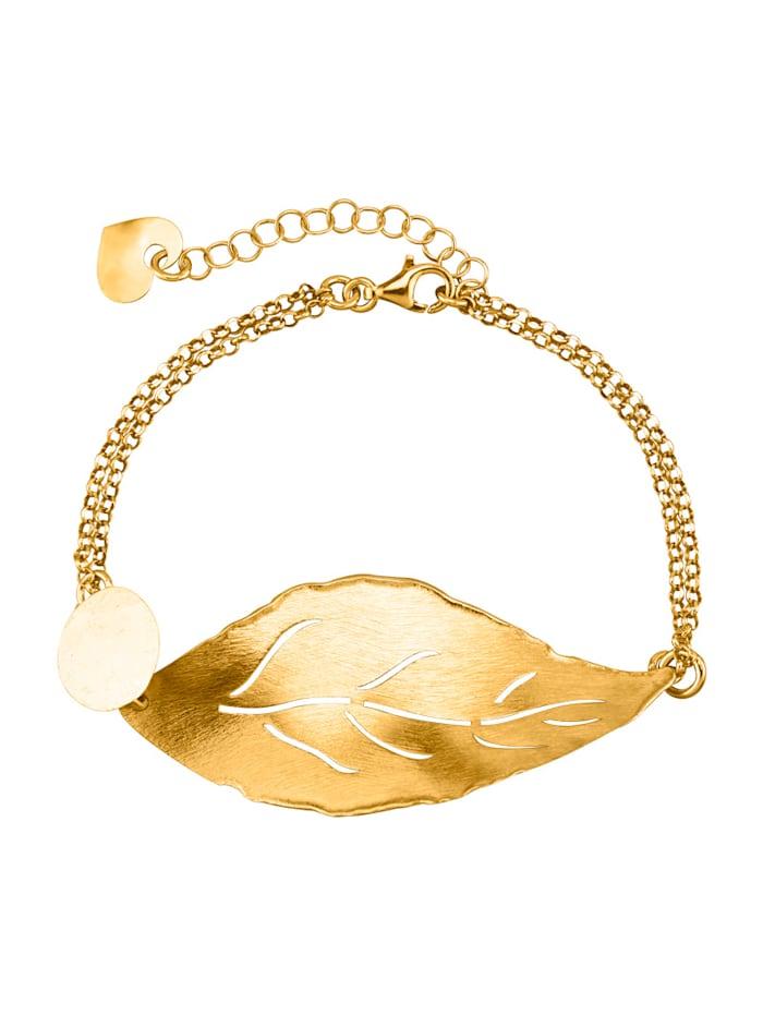 KLiNGEL Bracelet feuille en argent 925, doré, Coloris or jaune