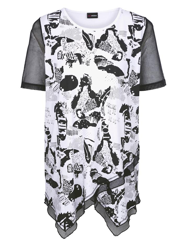 MIAMODA Tričko s módním potiskem, Černá/Bílá
