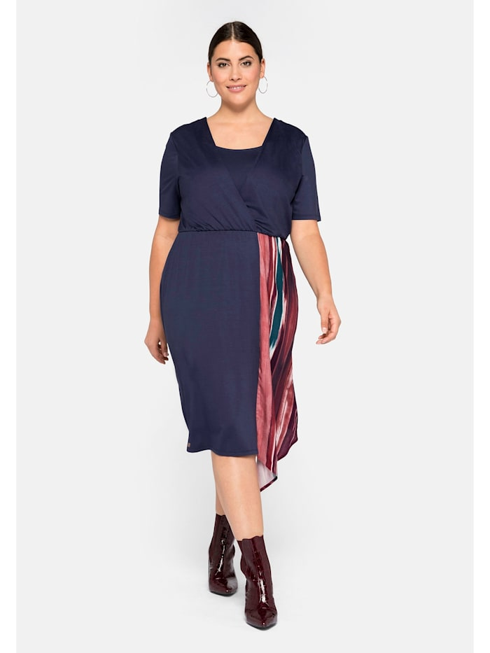 Sheego Sheego Jerseykleid mit Zipfeleinsatz, marine