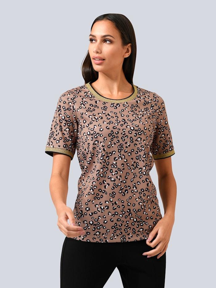 Alba Moda Shirt dezent mit Glanzgarn gearbeitet, Braun/Creme-Weiß/Schwarz/Goldfarben