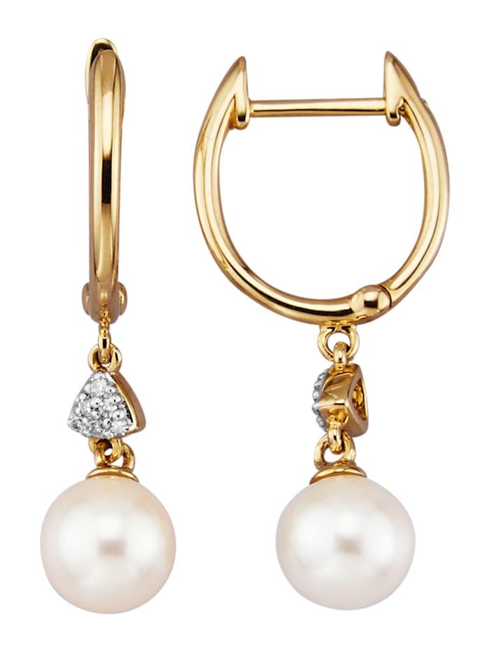 Diemer Perle Ohrringe mit Akoya-Zuchtperlen und Diamanten, Weiß